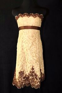 Details About Badgley Mischka Gold Bronze Brown Lace Strapless Cocktail Dress 807 D101