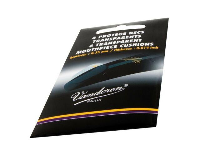 "Vandoren VMC6 Mouthpiece Cushions; Clear; Thin; 0.35mm/.014""; Pack of 6"