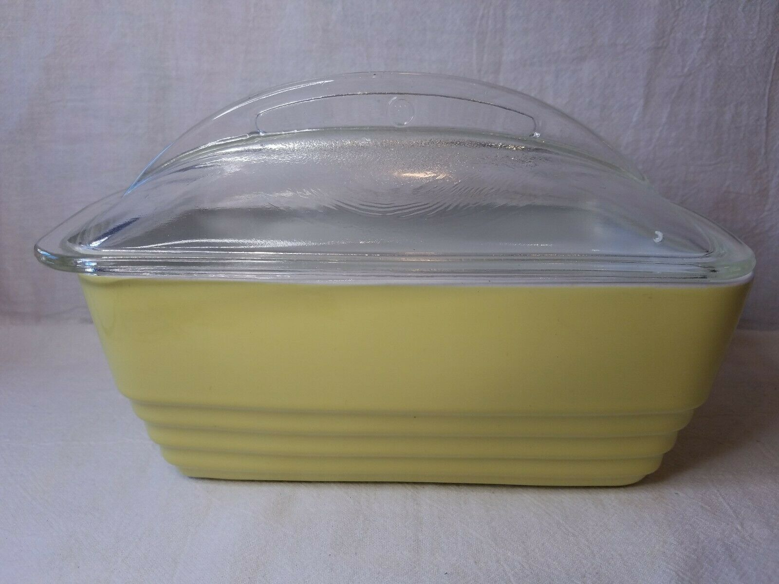 Vintage Hall for Westinghouse Yellow Ceramic Refrigerator Dish with Lid   01247