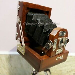 Vintage-Folding-Camera-With-Wooden-Tripod-Stand-Home-Decorative