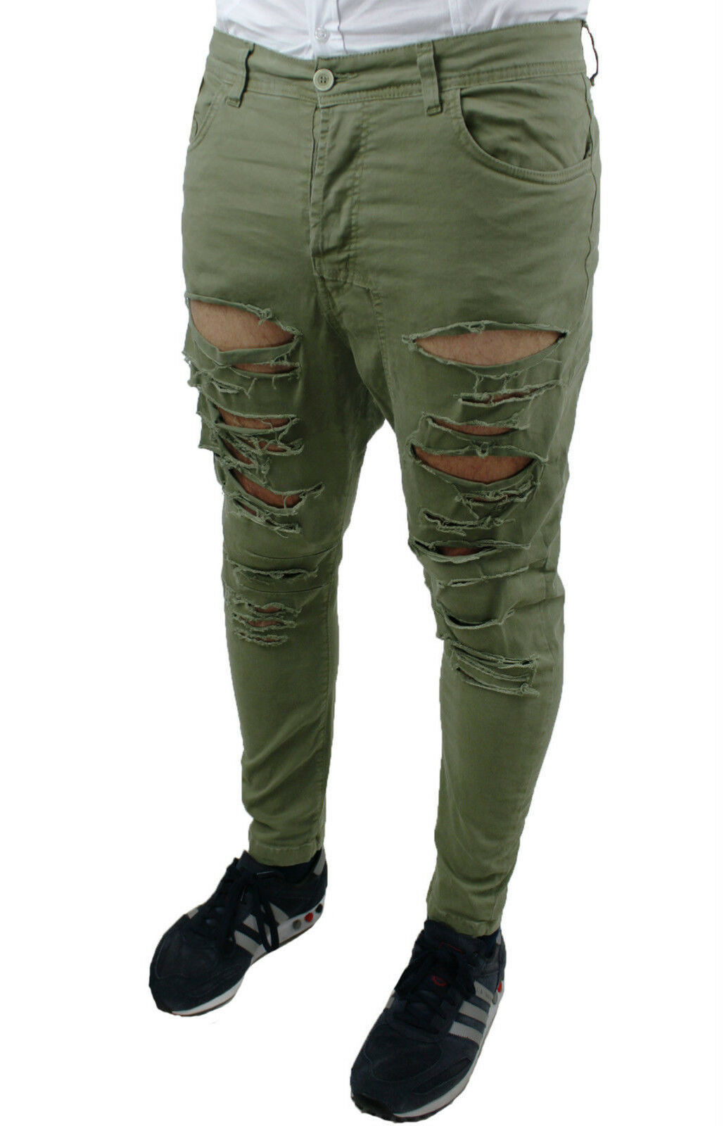 MEN'S JEANS TROUSERS SLIM FIT MILITARY GREEN COTTON RIPPED 42 44 46 48 50 52