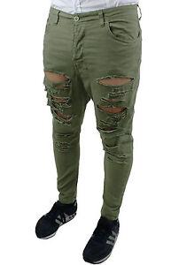 Slim Uomo Strappato 44 Verde Militare 46 42 Fit Pantaloni Cotone Jeans wxTq1