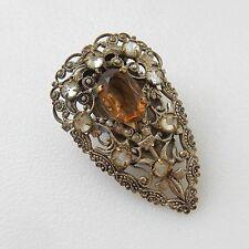 Vintage Filigree Citrine Stone Scarf Clip Brooch