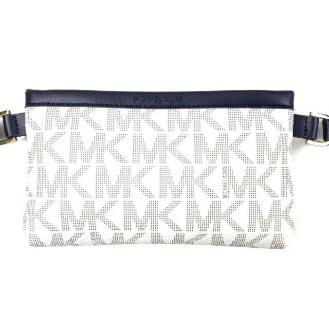 62e69ddadbe Michael Kors MK Signature Leather Belt Bag Fanny Pack Size X-large Navy  Blue for sale online   eBay