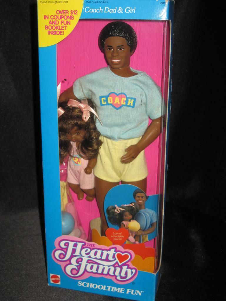 1988 Mattel corazón familia African American schooltime Diversión entrenador de papá & Girl En Caja Original