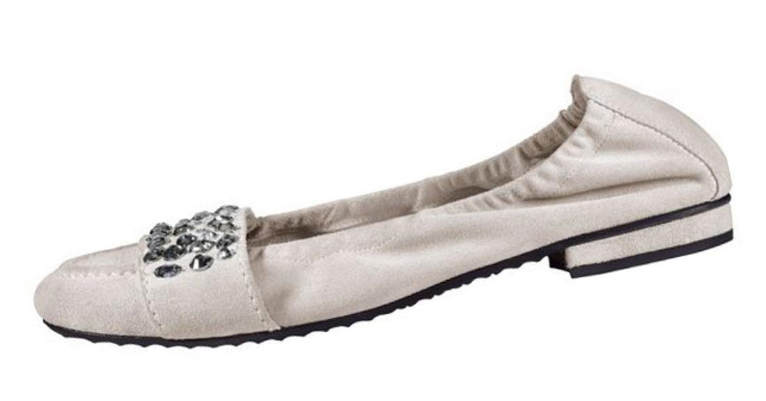 ELEGANT: helle Ballerinas mit Schmenger Swarovski Gr.3,5 Kennel & Schmenger mit NP 28cacb