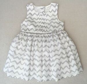 NEXT-Baby-Girls-White-Pale-Grey-Cotton-Dress-Lined-Occasion-Party-6-9-months