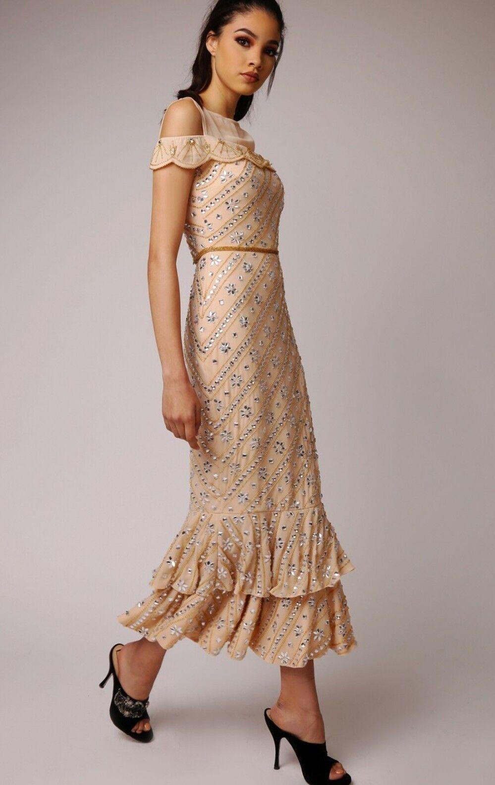 Dress 10 BNWT Virgos Lounge Embellished Nude Wedding Bridesmaids Prom ASOS