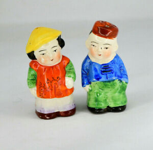 Vintage Pair of Chinese Couple Salt and Pepper Shakers