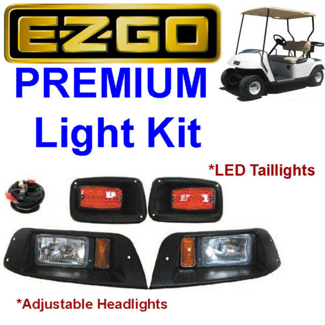 EZGO TXT Golf Cart Adjustable LIGHT KIT w/LED Tail Lights, Halogen Headlights