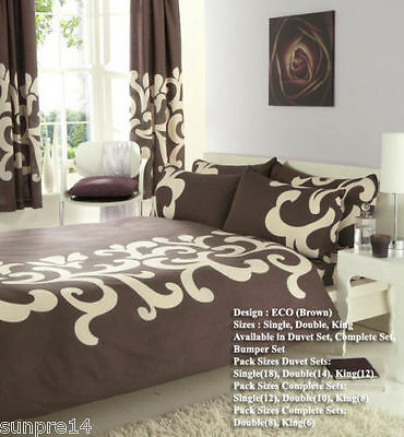 New 8 PC BUMPER SET DUVET  COVER WITH PILLOW CASES, SHEET, CURTAINS + TIE BACK
