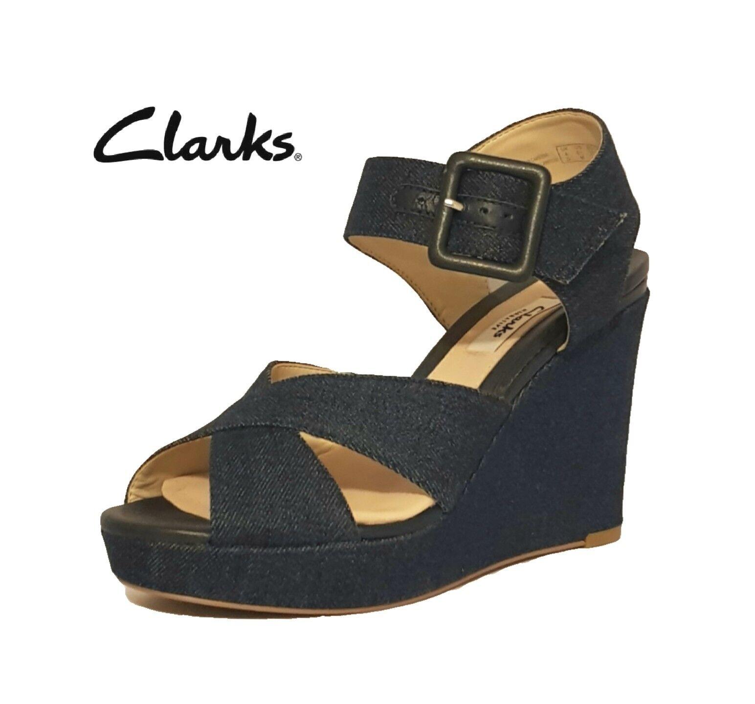 CLARKS LONAN GRACE bleu DENIM PLATFORM WEDGES BUCKLE SANDALS chaussures LADIES femmes
