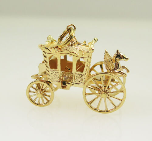 14k Yellow Gold Antique 3D Royal Coach Vintage Cha