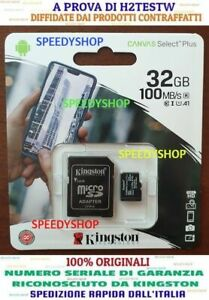 KINGSTON-Micro-SD-32-GB-class-10-PLUS-MICROSD-100MB-S-Canvas-SCHEDA-MEMORIA-2020