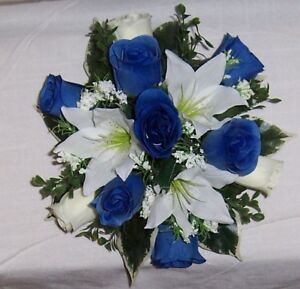 Image Is Loading Wedding Flowers Guest Table Royal Blue Amp Ivory