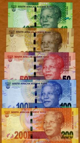2012-2016 ND P-133-134-135-136-137 UNC SET South Africa 10;20;50;100;200 rand