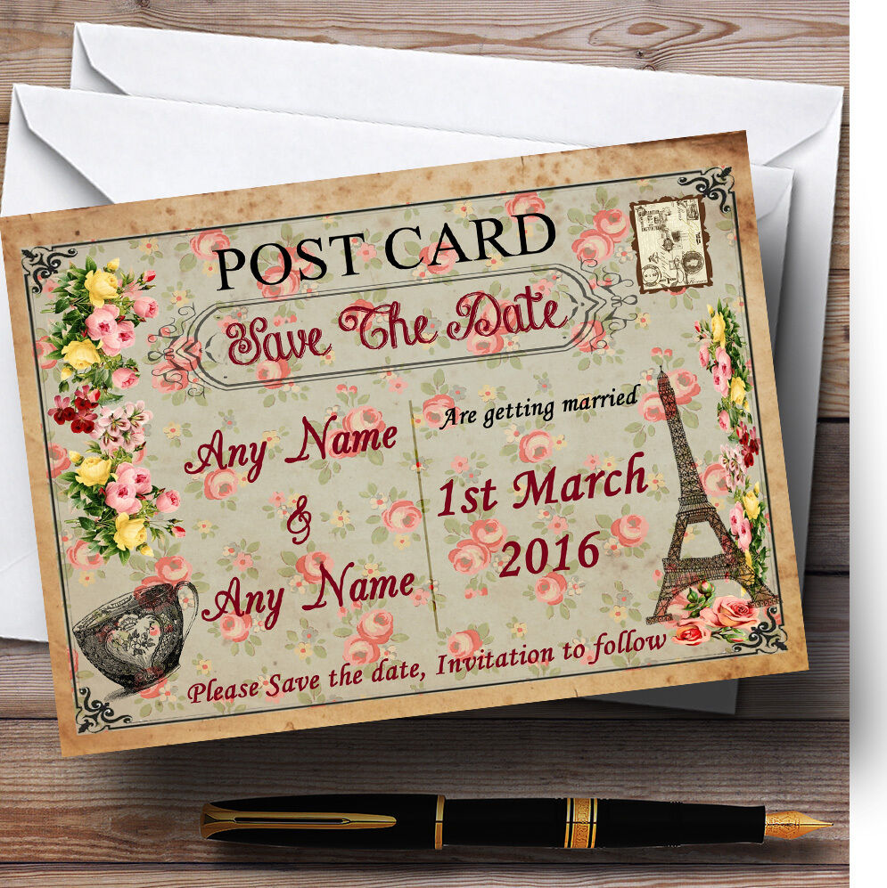 Paris CARTE POSTALE floral Personnalisé Mariage save the date date date cards 3ebdcf