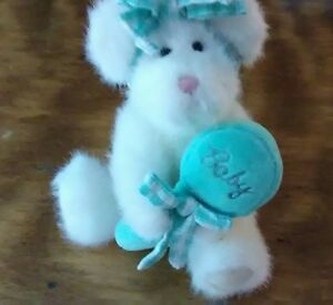 Boyds 8 inch white plush Baby bear with rattle Sweet pea green gingham ribbons
