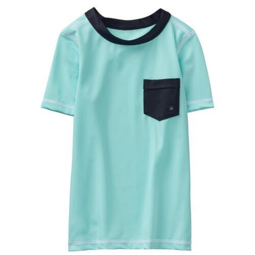 NWT Gymboree Boys Rashguard Shirt Top Pocket Aqua  kid boy UPF 50+