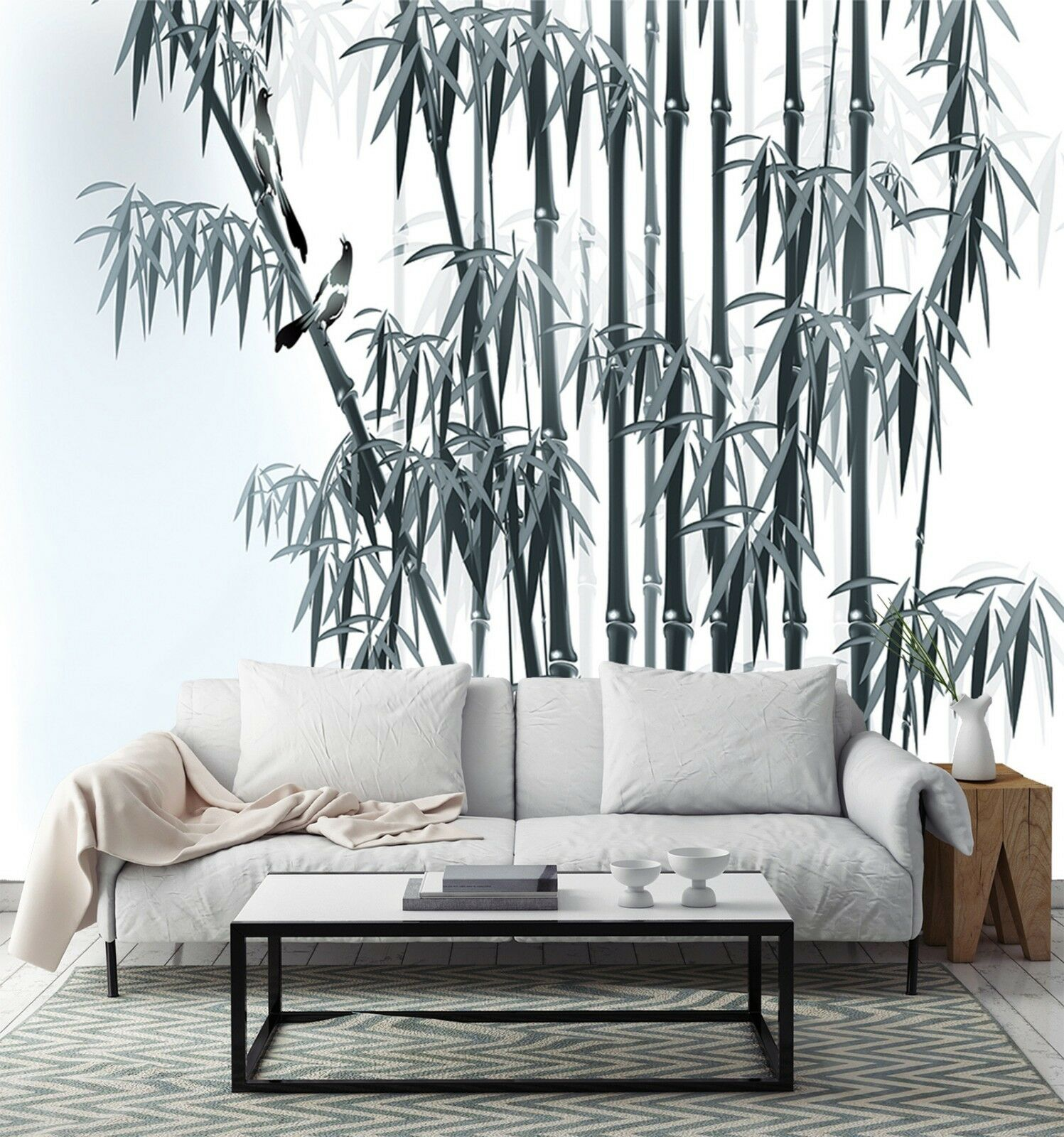 3D Bamboo leaves sketch Wall Paper Print Decal Wall Deco Indoor wall Mural