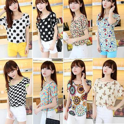 2014 Womens Casual Summer Short Sleeve Heart Printed Chiffon T-shirt Tops Blouse