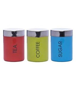 Image Is Loading Set Of 3 Tea Coffee Sugar Canisters Kitchen