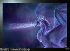 CLARE BERTRAM BLACK FRAMED MYSTICAL DRAGON - 3D FANTASY PICTURE 465mm x 365mm