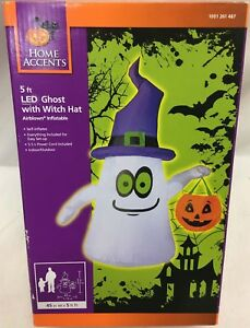 60d2e721f7c 5Ft Gemmy Airblown White Ghost With Witch Hat Lighted Halloween ...
