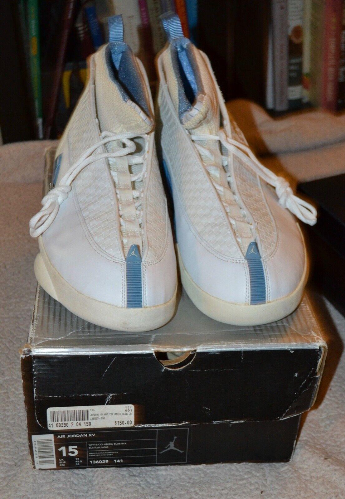 Nike Air Jordan 15   XV White Columbia bluee -BLK Men's 136029-141 Size 15