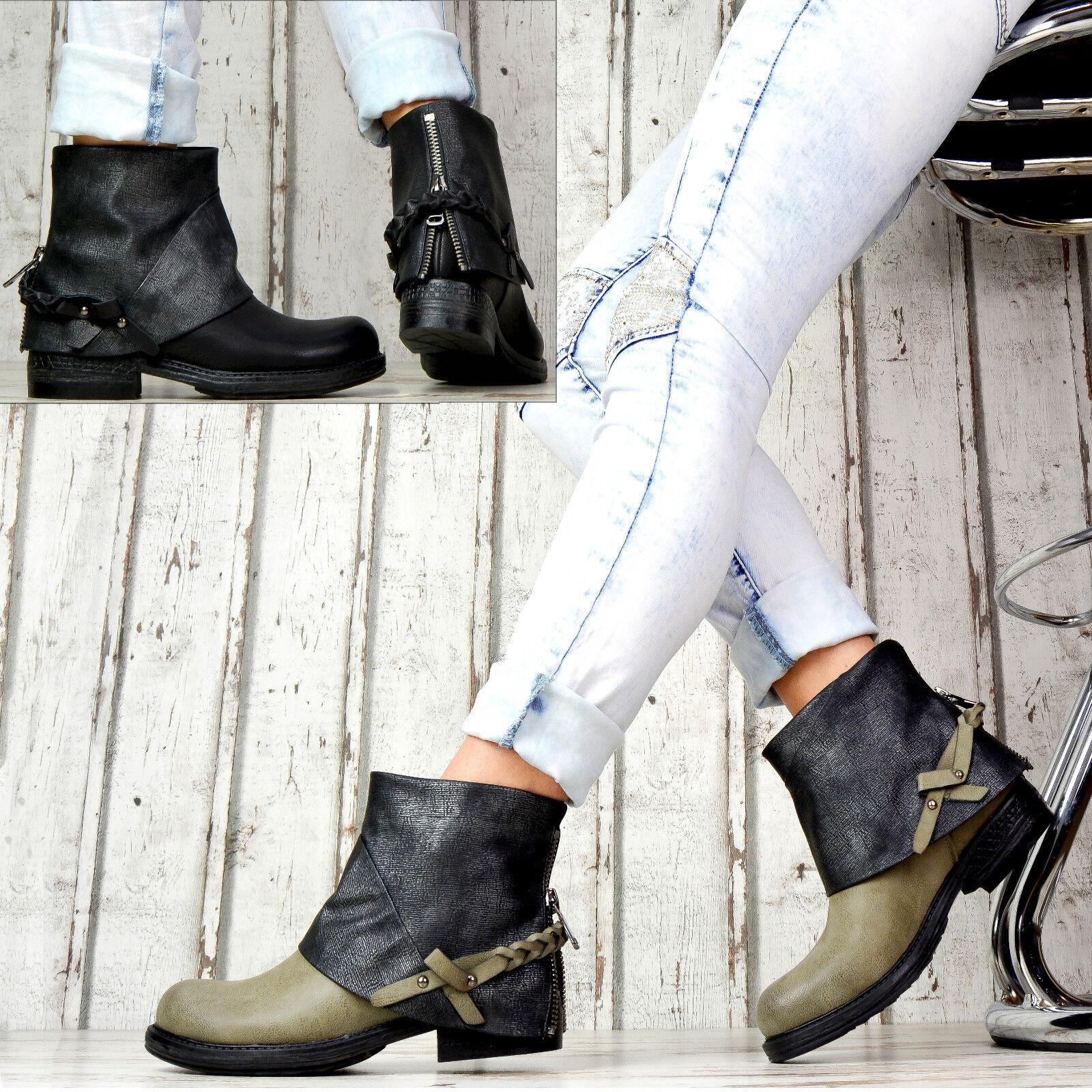 DESIGNER DAMEN zapatos zapatos zapatos BIKER botas METALLIC STIEFELETTEN MIT NIETEN SCHNALLEN add2f8