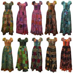 BOHO-HIPPIE-GYPSY-VINTAGE-STYLE-PATCHWORK-ELASTICATED-SHORT-SLEEVE-COTTON-DRESS