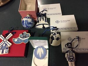 7-Blue-Christmas-Tree-Ornaments-Delft-Hand-MadeHolland-Pottery-Shed-Sher