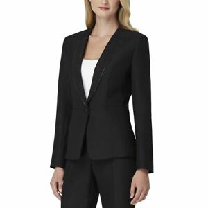 TAHARI-ASL-NEW-Women-039-s-Black-Zip-trim-One-button-Lined-Blazer-Jacket-Top-8-TEDO