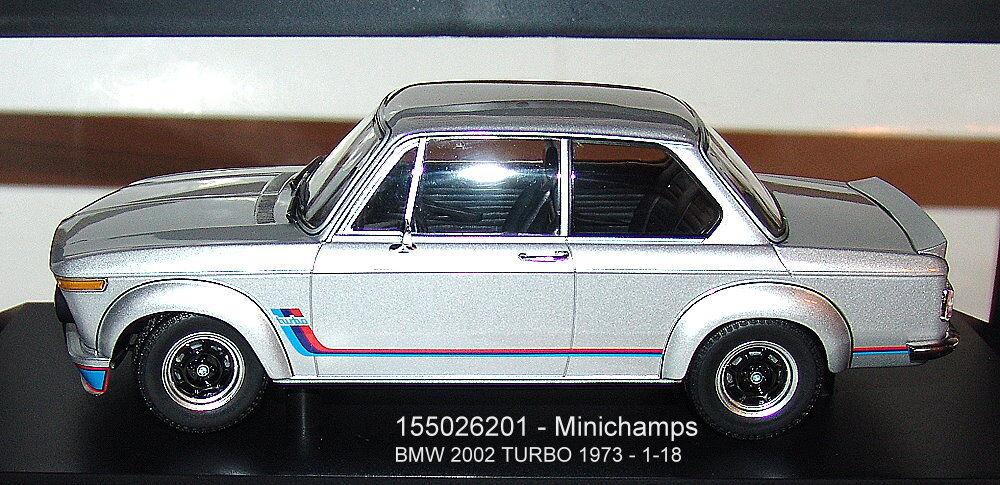 MINICHAMPS 155026201, BMW  2002 TURBO-Argent 1973 - 1 18  expédition rapide à vous