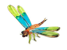 MINIATURE DRAGONFLY GLASS BLOWN HAND GLASS ART FLY FIGURINE ANIMAL COLLECTION