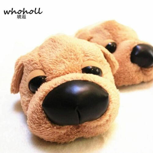Winter Home Funny Slippers Christmas gift Men Women Cotton cute Dog female Plush