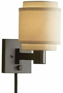 Details about Swing Arm Lamp Wall Mount Bedroom Light Accent Sconce Layered  Fabric Cream Shade