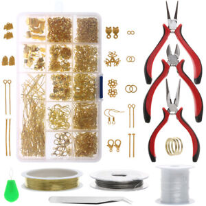 Jewelry-Making-Tools-Repair-Kit-Findings-Supplies-Pliers-Beading-Wire-Set-Craft