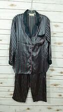 Victoria's Secret Satin VS Logo Pinstriped Pajama Set Medium Gray Pink 2 Piece