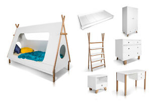 Details zu Kinderzimmer Möbelprogramm INDIANER Bett Schrank Schreibtisch  Weiß WÄHLEN SIE!