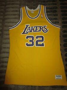 Magic Johnson  32 Los Angeles Lakers NBA Finals Sand-knit Jersey LG ... 498d2af45