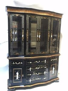 Image Is Loading Oriental Furniture China Cabinet 60 034 Black Lacquer
