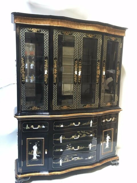 Oriental Furniture China Cabinet 60 Black Lacquer Mother Of Pearl For Online