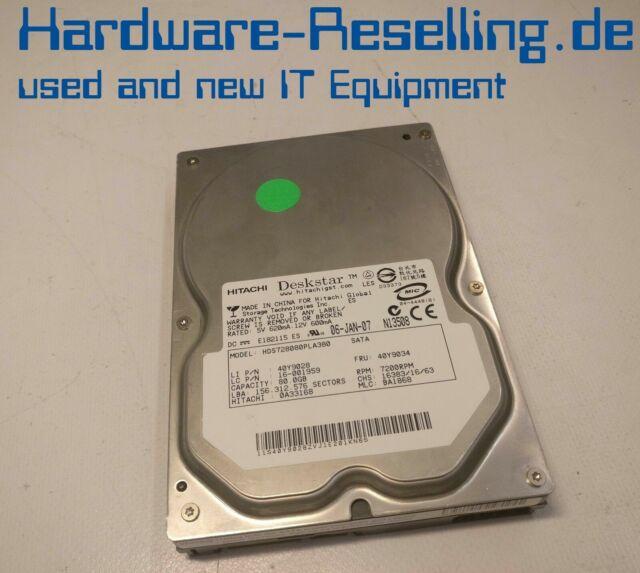 """Hitachi 82,3gb 3.5"""" 7.2k SATA hds728080pla380 0a33168 ba1868 16-001959 40y9028"""