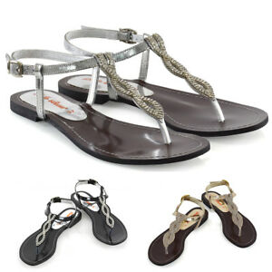 d09aade2a Womens Diamante Flat T-Bar Singback Sandals Ladies Strappy Holiday ...