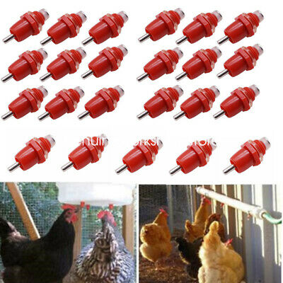 10 Pack Poultry Water Drinking Nipples Chicken Duck Hen Screw In Type Drinker