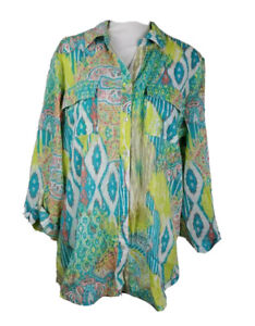 Chicos-Womens-Button-Up-Shirt-Blue-Ikat-Roll-Tab-Sleeves-Pockets-Cotton-XL-16-3