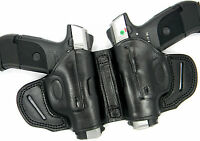 Premium Black Leather Dual 2-gun Owb Holster Small Of Back Sob For Glock 26 27