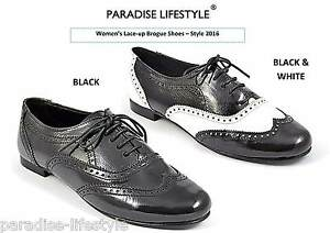 ddcc690d573 Image is loading Black-Patent-Brogue-Shoes-Womens-Ladies-White-Dance-