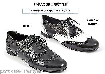 Black Patent Brogue Shoes Womens Ladies